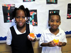 Students enjoying the Fresh Fruit and Vegetable Program