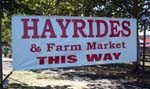 Photo of hayride sign at Johnsons Farm