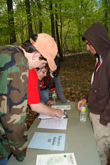Photo of students at the forestry station during the 2011 Envirothon