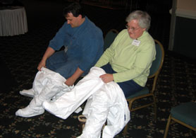 Photo of 2007 AEWG Symposium participants donning protective gear - Click to enlarge