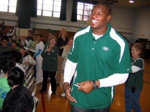 Photo of D'Brickashaw Ferguson at Netcong Elementary School