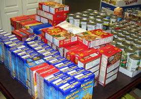 Photo of Thanksgiving dinner groceries at food pantry - Click to enlarge