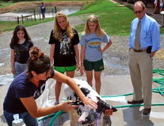 Photo of Breanna Fulper washing a cow as Secretary Fisher looks on