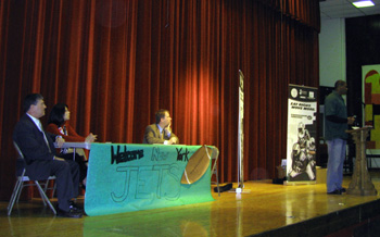 Photo of Jets and other officials at Halsted Middle School