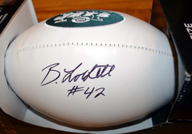 Photo of an autographed NY Jets football - Click to enlarge