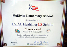 Photo of one of the Healthier US Challenge Award certificates  - Click to enlarge