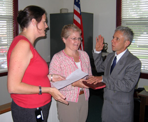 Photo of McKittrick taking oath of office