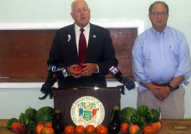 Photo of Secretary Kuperus and Assemblyman Fisher at press conference in Mullica Hill - Click to enlarge