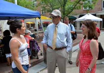 Photo of the Princeton Farmers Market with Megan McKeever, Secretary Fisher and Mayor Lempert