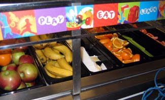 Southwood Elementary School lunch line, with fresh fruits and vegetables