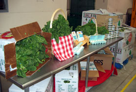 Photo of produce, eggs and cheese at the FoodBank of Monmouth and Ocean Counties