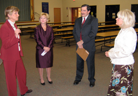 Photo of Emma Davis-Kovacs, Principal Diane Young, Bill Jourdain and Debra Zee, Voorhees Schools Food Service Director - Click to enlarge
