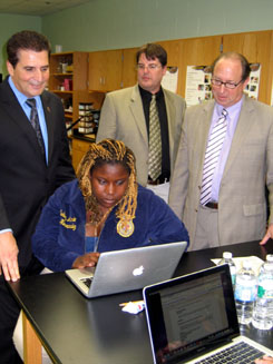 Photo of Executive DiVincenzo, John Neyhart and Secretary Fisher watching a lesson