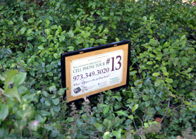 Photo of a sign for the cell phone tour of Willowwood Arboretum - Click to enlarge