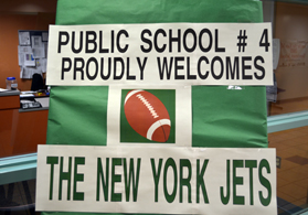 Photo of a sign welcoming the NY Jets to West New York PS #4 - Click to enlarge