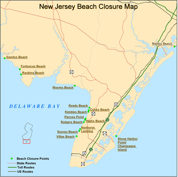NJDEP Division Of Fish Wildlife Seasonal Delaware Bay And - Us map with bays
