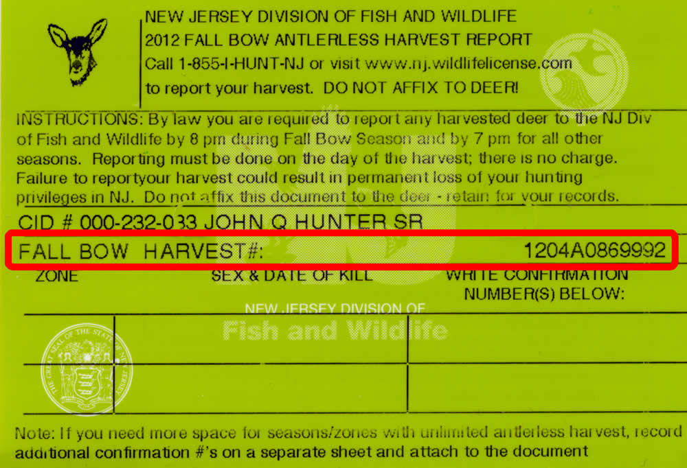 Njdep division of fish wildlife automated harvest for Idaho fishing license