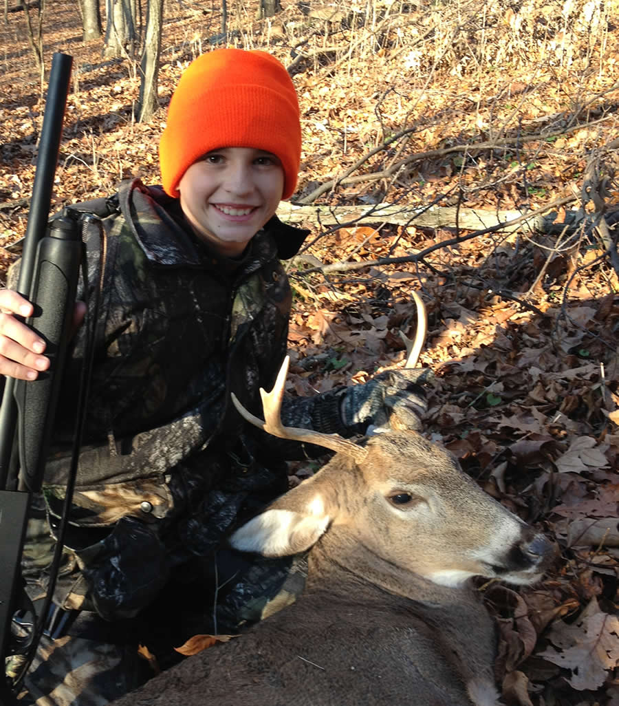 Happy and proud youth with his first buck - image from the New Jersey Department of Environmental Protection website