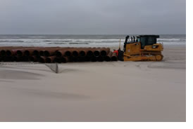 DEP Photo - Dredge pipe is laid out in Ocean City