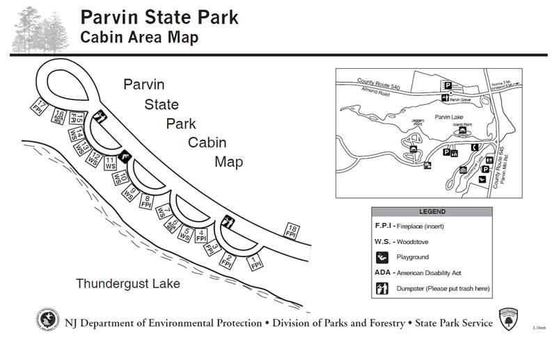 Awesome Parvin Cabin Map