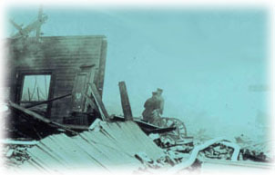 The wreckage after the Black Tom Explosion.