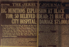"Newspaper article from ""The Jersey Journal"" announcing the devastating news of the munitions explosion at Black Tom."