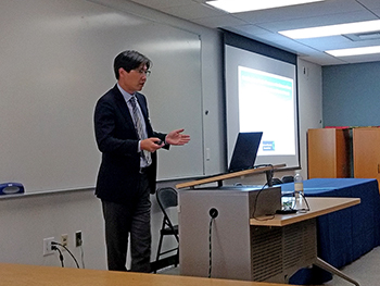DRBC's Dr. Namsoo Suk presents at the Academy of Natural Science's Delaware Watershed Research Conference. Photo by DRBC.