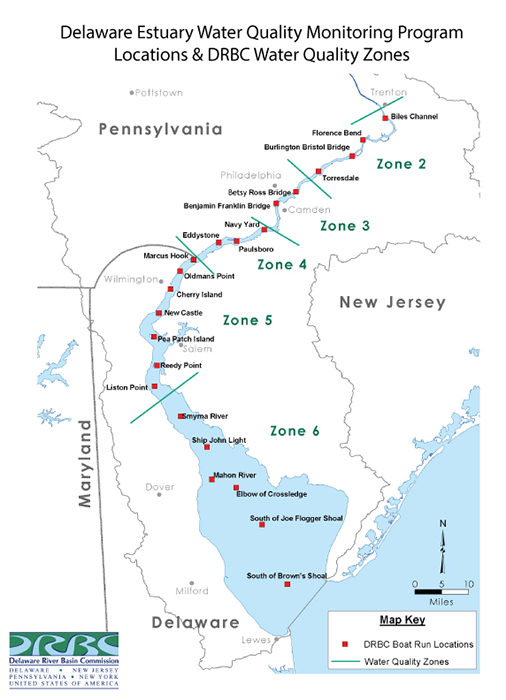 Map of the Monitoring Sites for the Delaware Estuary Boat Run.