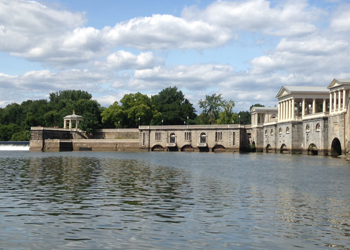 View of the Fairmount Water Works from the Schuylkill River, 2014. Photo by DRBC.