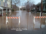 Photo of a flooded street in Lambertville, N.J. after the April 2005 flood. Photo by DRBC.