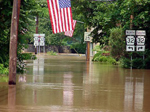Image of a flooded street in Yardley, Pa. after the June 2006 flood. Photo by DRBC.