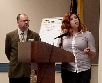 DRBC's John Yagecic and Elaine Panuccio present to the New Jersey Water Monitoring Council. Photo by DRBC.
