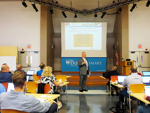 Pa. Representative Perry Warren provides welcoming remarks at the DRBC/PADEP Water Loss Management Training at Bucks Co. Community College, Newtown, Pa. Photo by DRBC.
