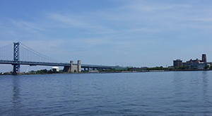 The Delaware River and the Ben Franklin Bridge, Philadelphia, Pa. Photo by DRBC.