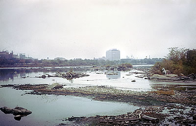 View of the Delaware River looking downstream from Morrisville, Pa. towards Trenton, N.J., Oct. 1963.