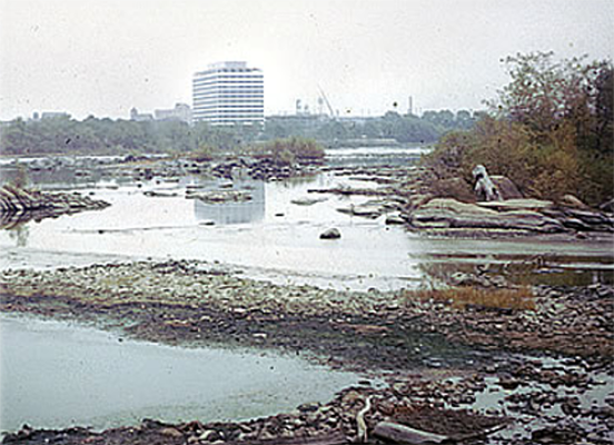 A view of the Delaware River at Trenton, N.J. during the 1965 drought. Photo from the DRBC archives.