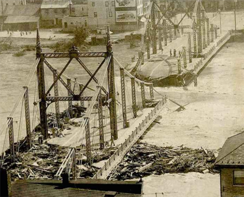 The Easton-Phillipsburg Bridge collapsed during the 1955 Flood. Photo courtesy of LehighValleyLive.com.
