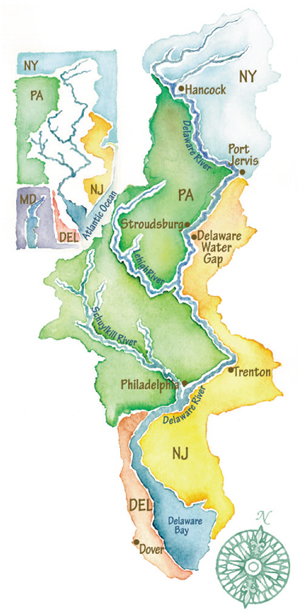 Illustration of the Delaware River Basin.