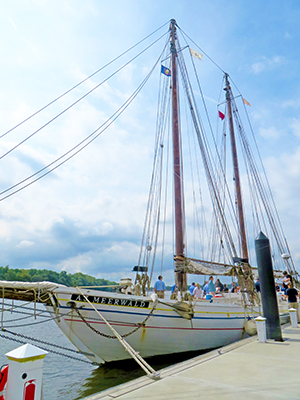 The AJ Meerwald docked in Bristol, Pa. Photo by DRBC.
