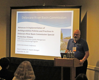 DRBC's Bob Limbeck presents at the 2016 Mid-Atlantic AWRA Conference. Photo by DRBC.