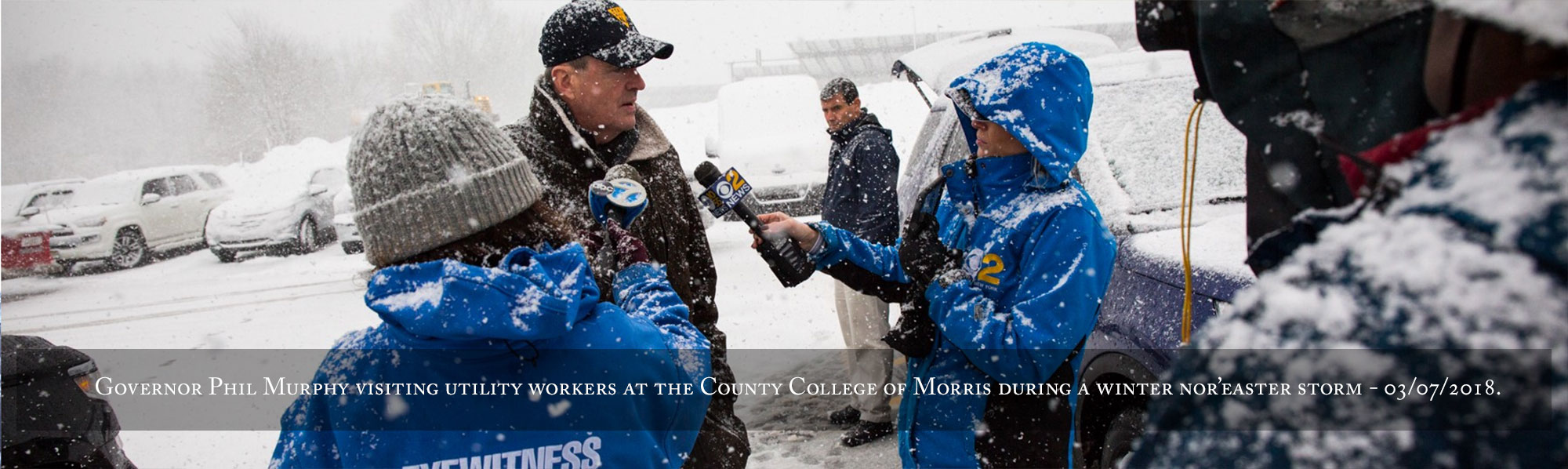 Governor Phil Murphy conducts an interview after visiting utility workers at the County College of Morris during a winter nor'easter storm on Wednesday, March 7, 2018