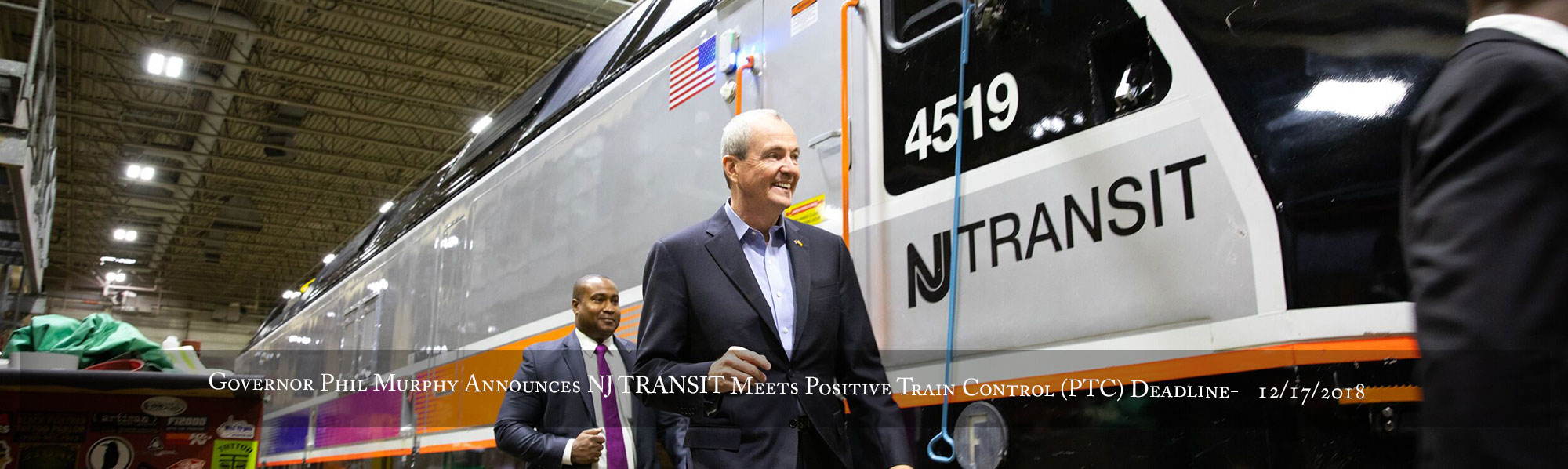 Governor Phil Murphy announces NJ TRANSIT will meet the federally-mandated Positive Train Control (PTC) deadline on December 17, 2018,