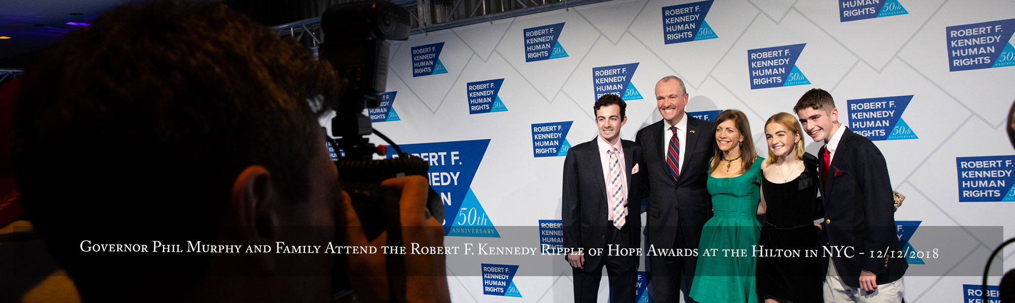 Governor Phil Murphy and family attend the Robert F. Kennedy Ripple of Hope Awards at the Hilton in New York City on December 12, 2018
