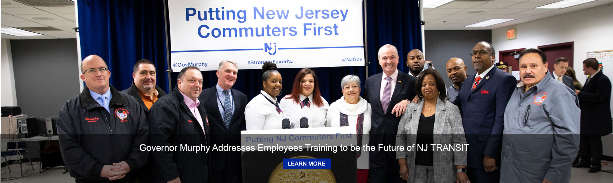 Governor Phil Murphy addresses NJ TRANSIT employees training to become new locomotive engineers and bus operators at the NJ TRANSIT Ferry St. training facility in Newark on January 17, 2019.