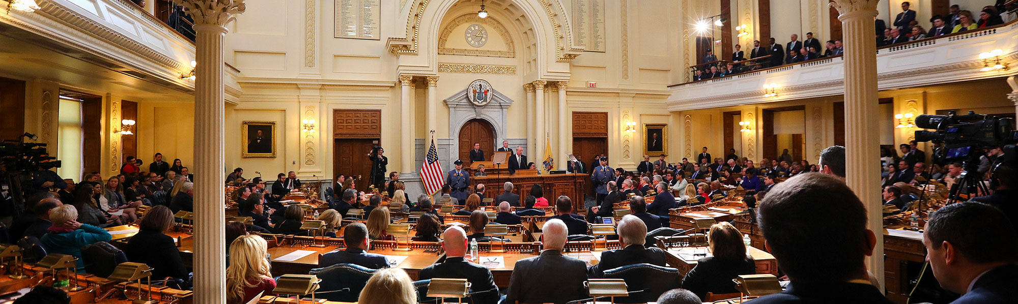 Gover nor speeking at Assembly Chamber Trenton, NJ