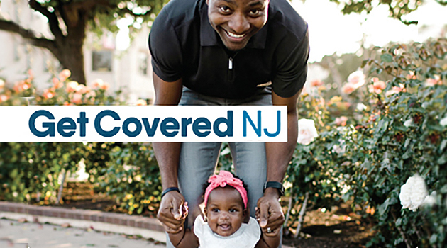 Photo: Men with child, GetCoveredNJ Logo