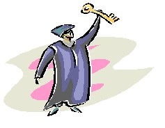 image of a graduate holding up a key