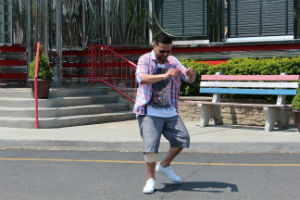 Happy Dance winner Felix Guillermo doing his 'Happy' strut at the Americana Diner in Shrewsbury, NJ