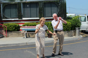Susan Cucolo and Angelo Granata get their 'Happy' on at the Americana Diner