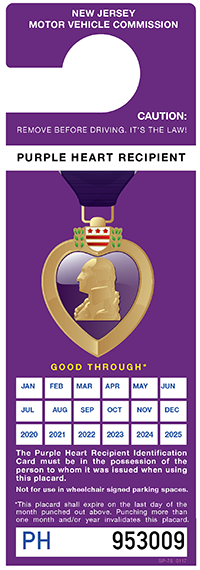 Purple Heart Recipient Placard